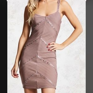 Forever 21 Taupe Ribbed Bodycon Mini Dress